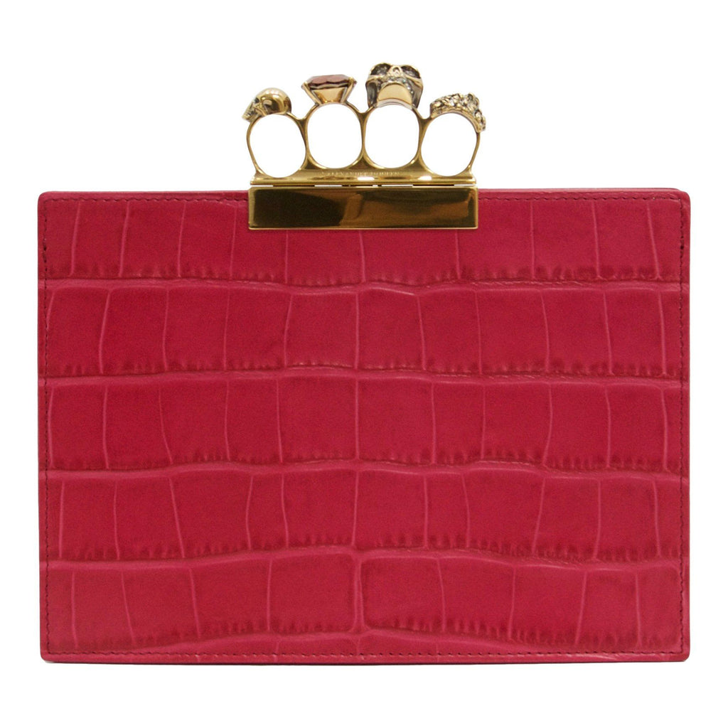 Alexander Mcqueen Four-Ring Croc Embossed Leather Clutch Bags Alexander McQueen