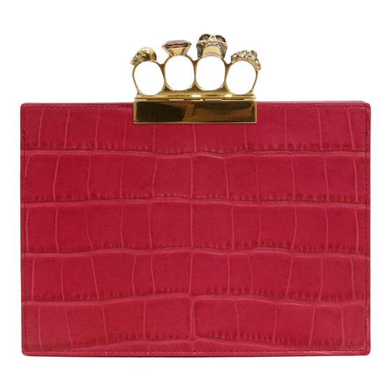 Alexander Mcqueen Four-Ring Croc Embossed Leather Clutch