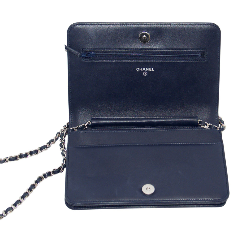 Chanel Navy Blue Quilted Boy Wallet on Chain Bags Chanel