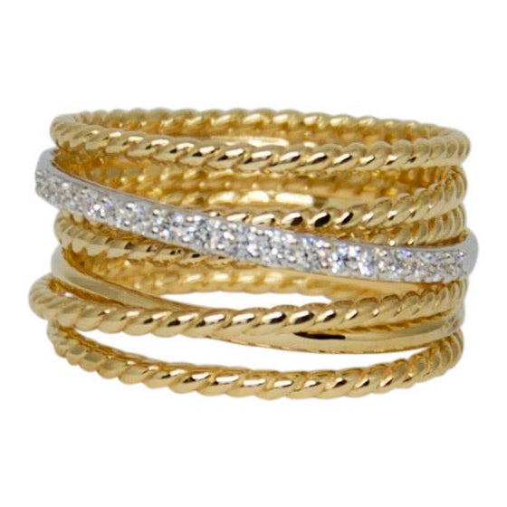 David Yurman Gold Crossover Wide Ring With Diamonds - Rings