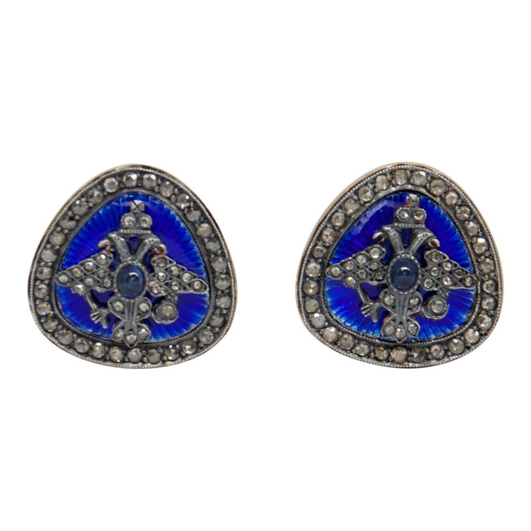 Antique Sapphire & Diamond Blue Enamel Cufflinks