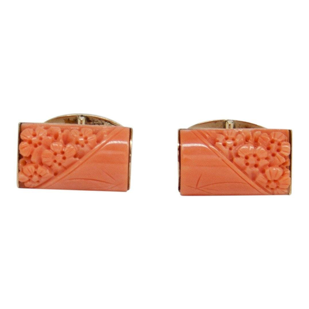 Antique Carved Coral Cufflinks - Mens Jewellery