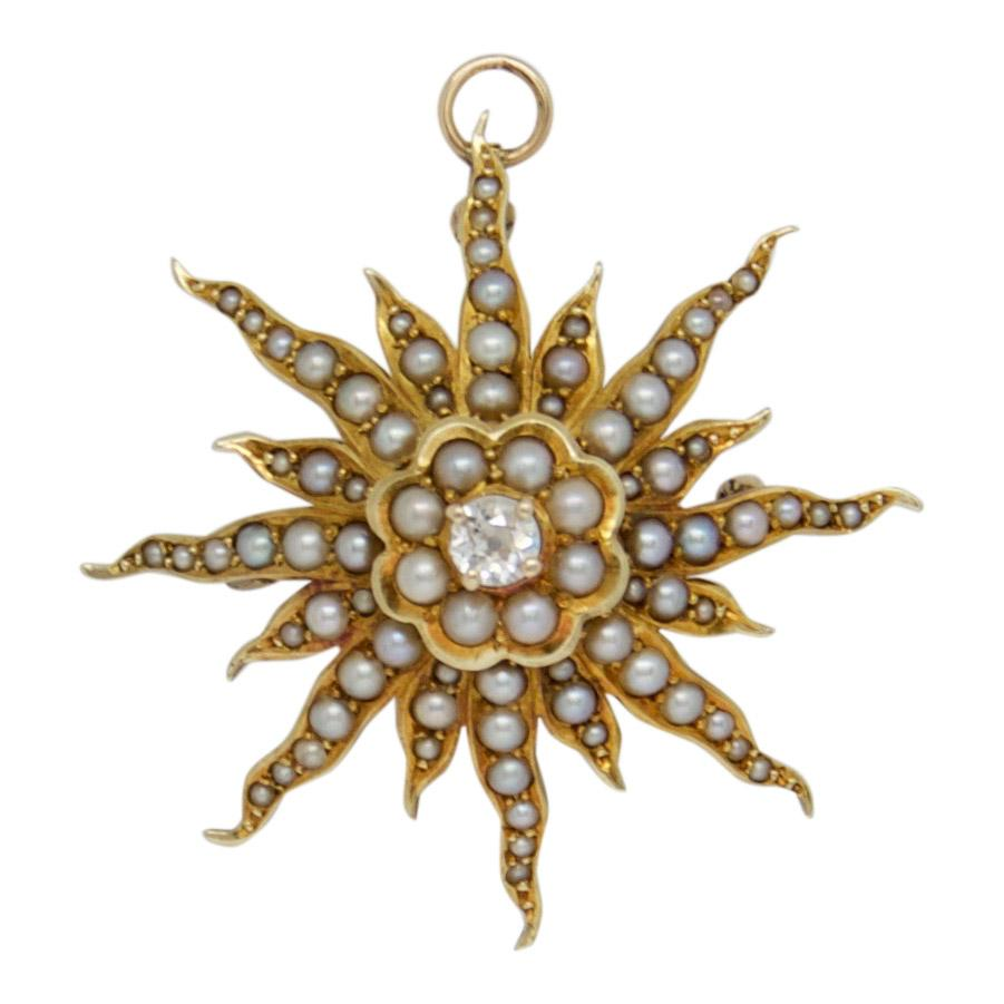 Antique Seed Pearl and Diamond Starburst Brooch/Pendant