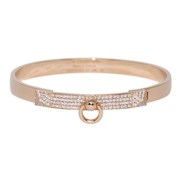 Hermes Rose Gold & Diamond Collier De Chien Bracelet, Small Model