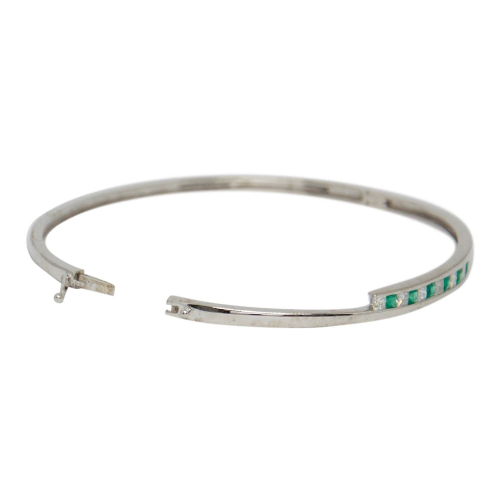 Emerald and Diamond Bangle Bracelet Bracelets Miscellaneous