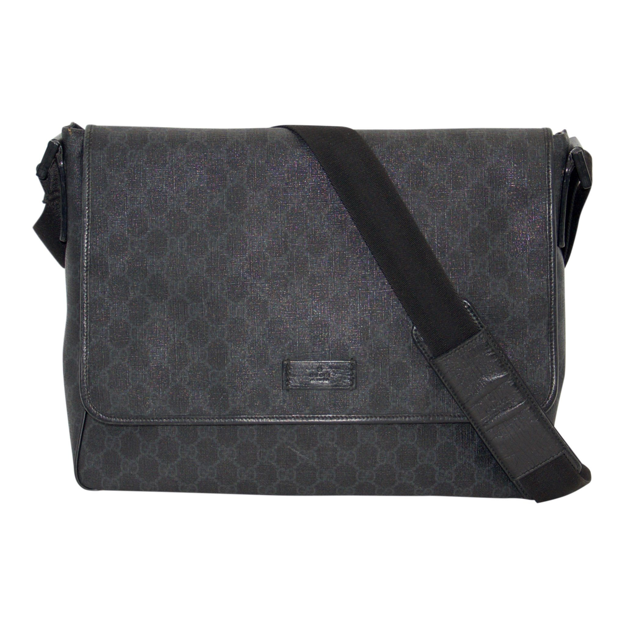 081f869fa03 Gucci Black GG Coated Canvas Messenger Bag - Oliver Jewellery