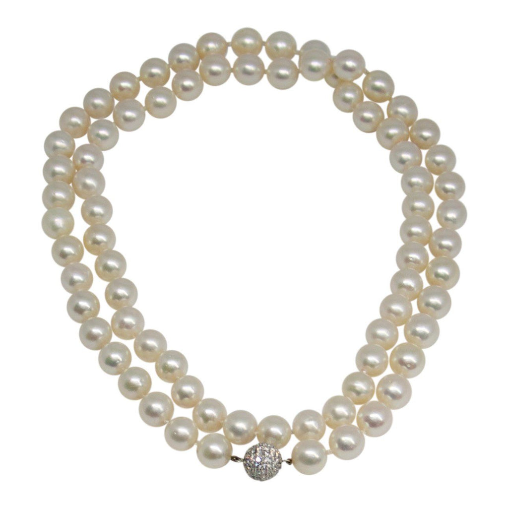 10-10.5 Mm Pearl Necklace With Pave Diamond Clasp - Necklaces