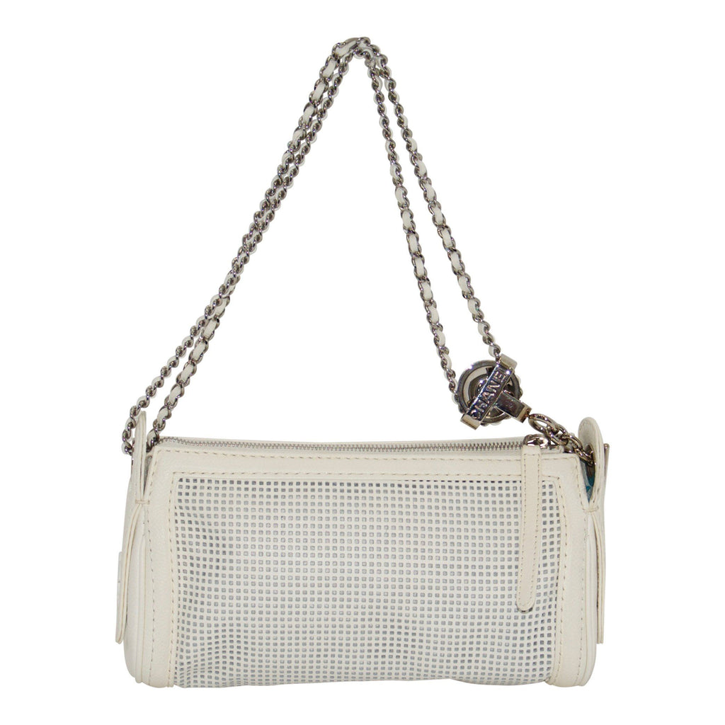 Chanel White Perforated Leather Shoulder Chain Bag