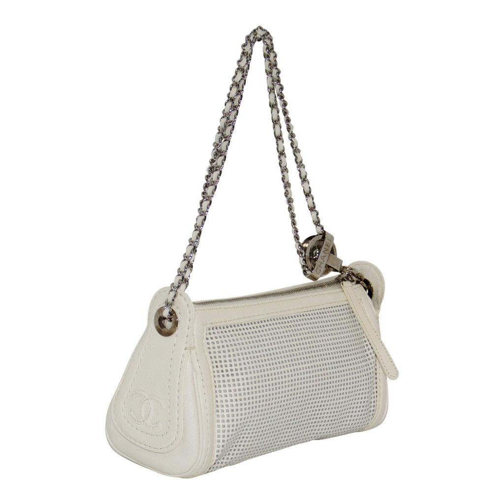 Chanel White Perforated Leather Shoulder Chain Bag Bags Chanel