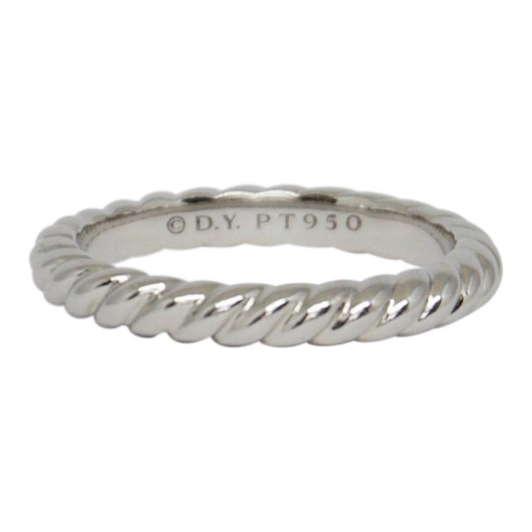 David Yurman Platinum Unity Cable Wedding Band Ring - Rings