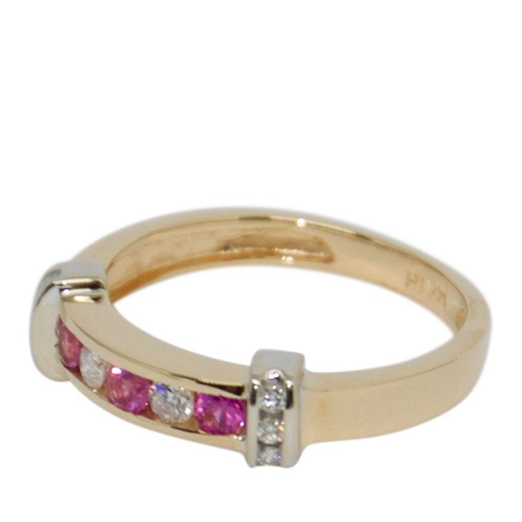 Pink Sapphire & Diamond Band Ring Rings Miscellaneous