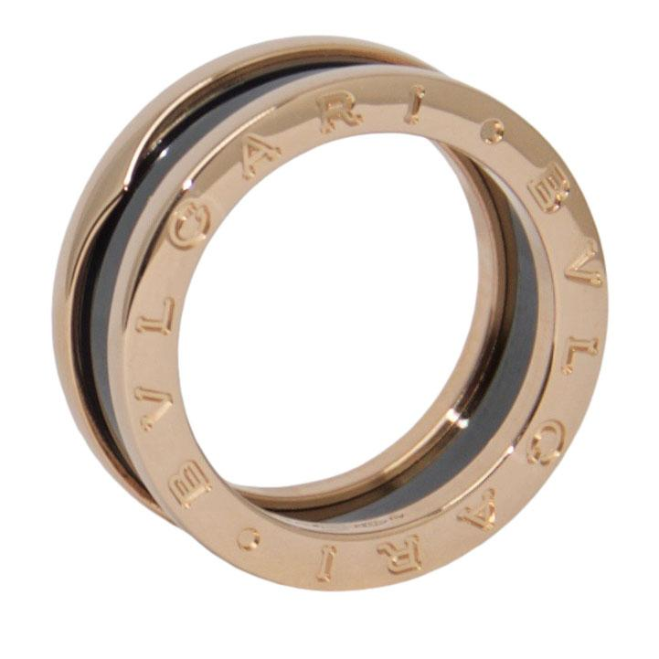 BVLGARI B.Zero1 Two-Band Ring with Rose Gold and Black Ceramic Rings Bulgari