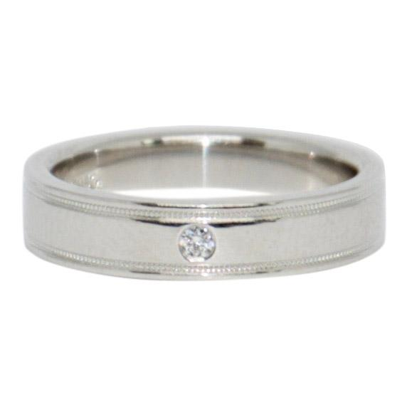 Tiffany & Co. Essential Double Milgrain Band Ring with Diamond