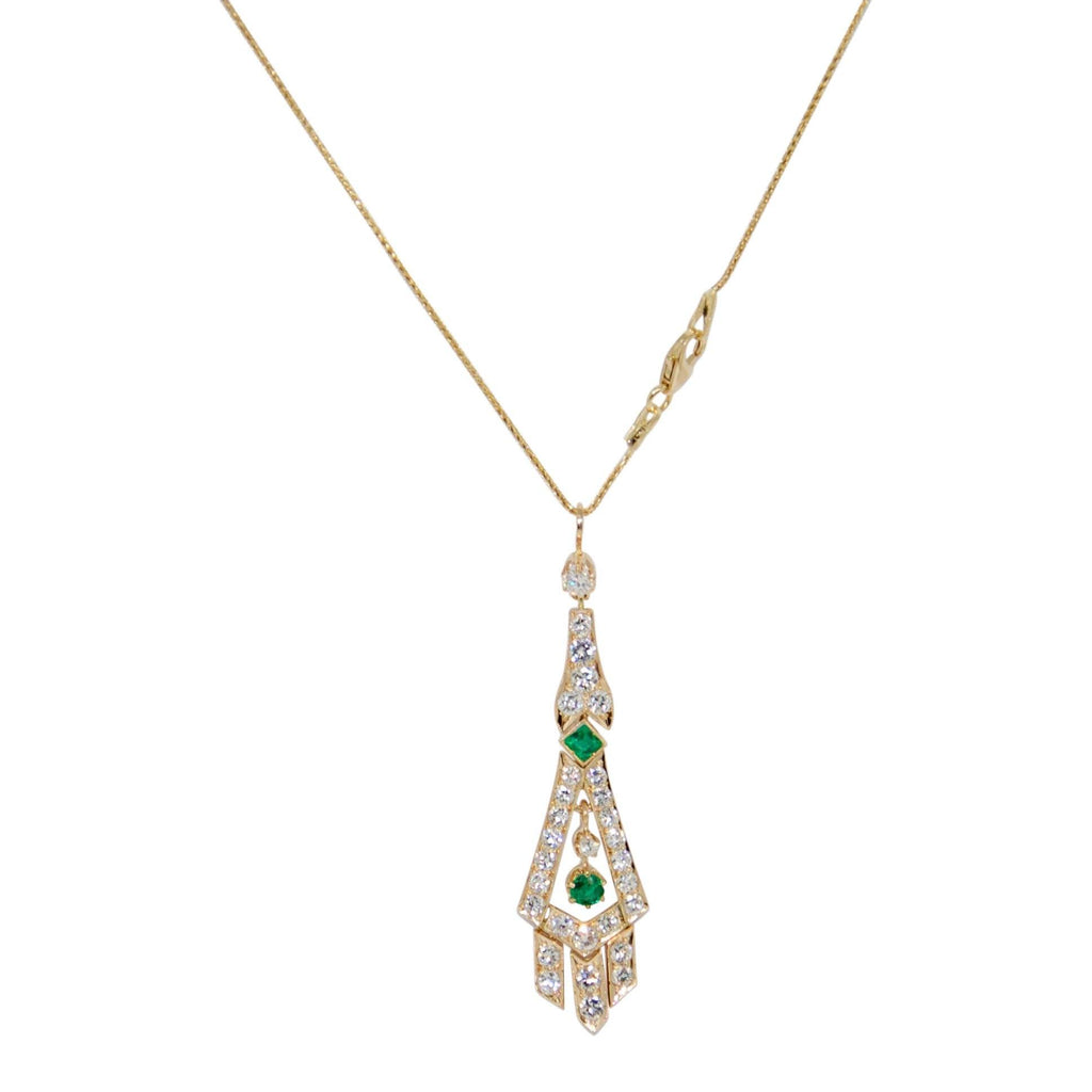 Emerald And Diamond Drop Pendant Necklace - Necklaces