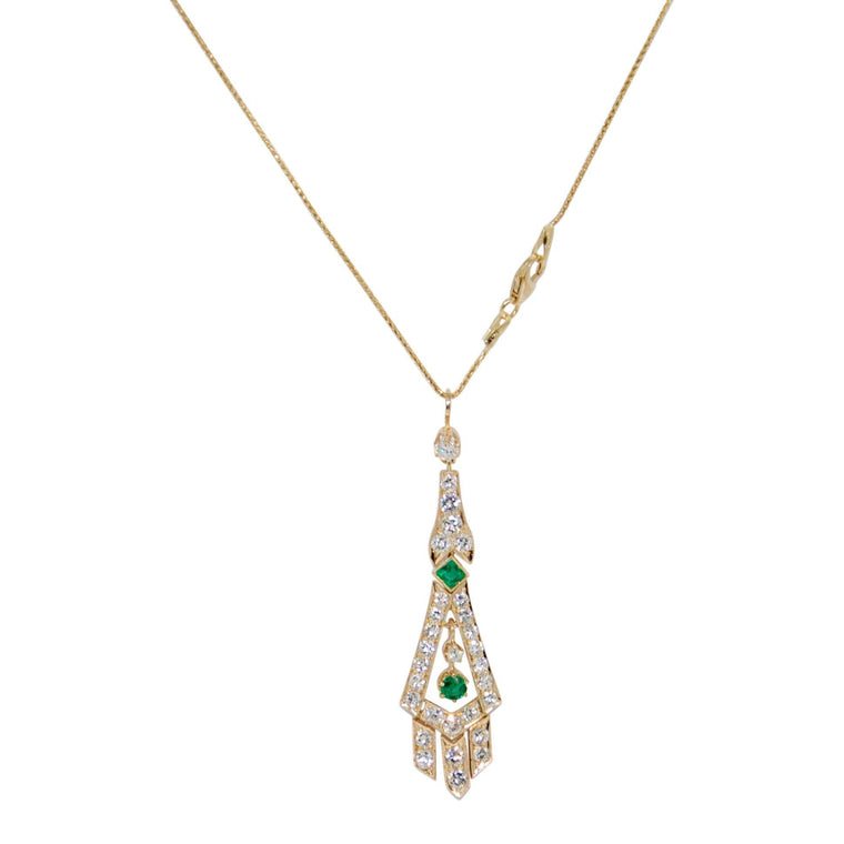 Emerald and Diamond Drop Pendant Necklace