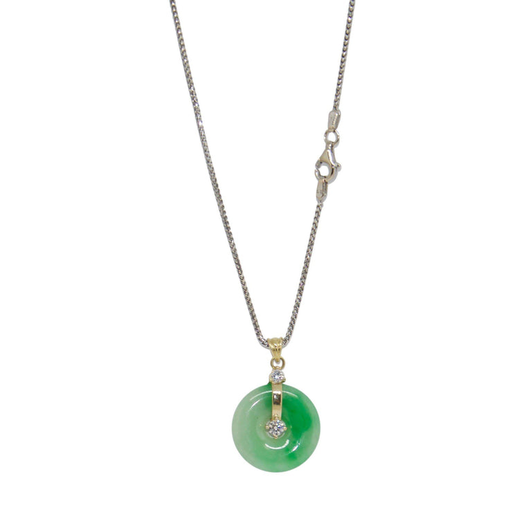 Jade and Diamond Circle Pendant Necklace