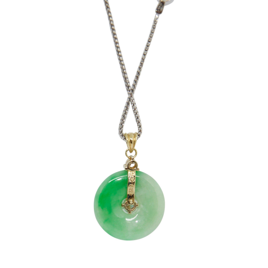 Jade and Diamond Circle Pendant Necklace Necklaces Miscellaneous