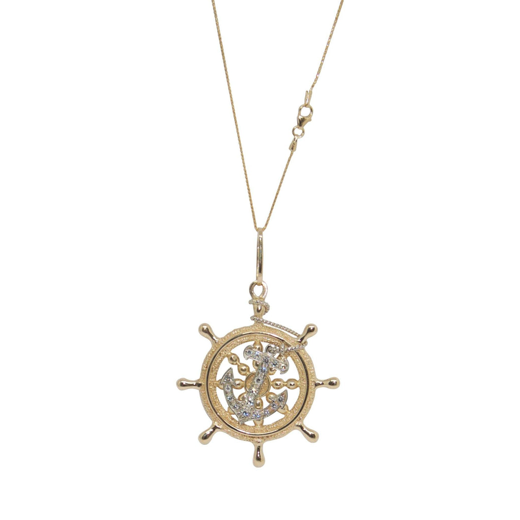 Diamond Nautical Boat Wheel Pendant Necklace Necklaces Miscellaneous