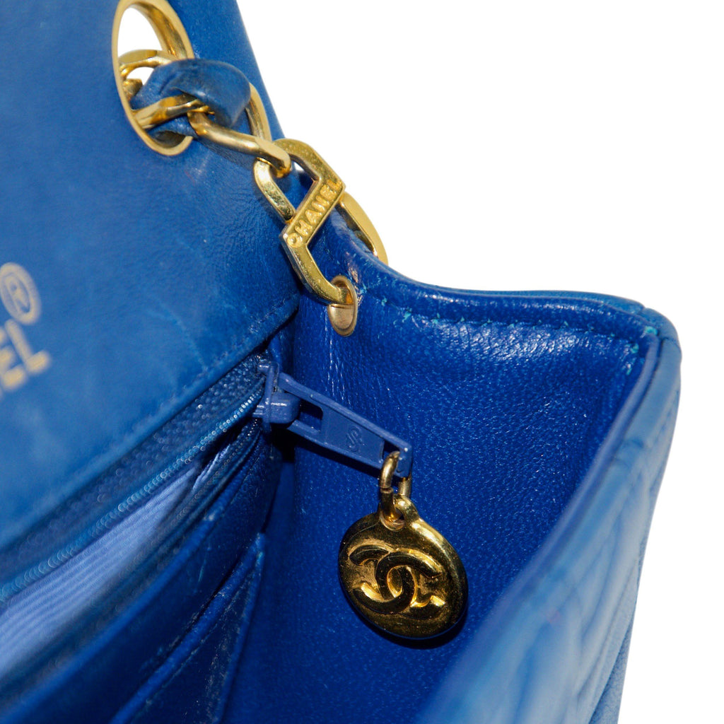 Chanel Blue Vintage Classic Mini Square Flap Bag
