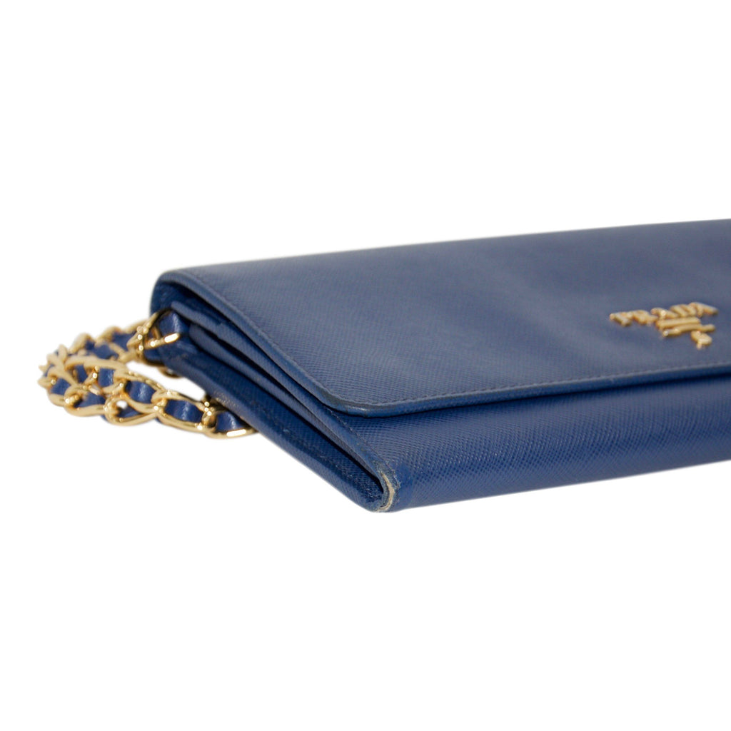 Prada Blue Saffiano Wallet On Chain - Bags