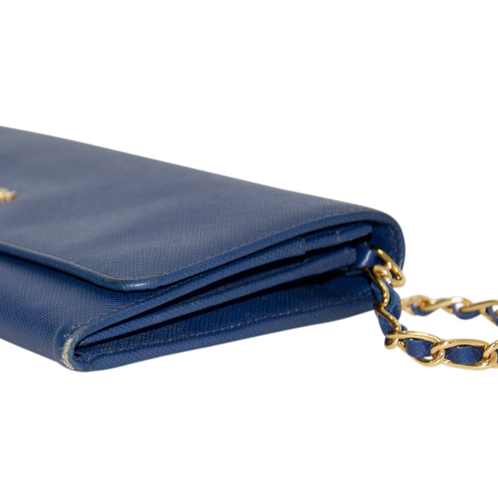 Prada Blue Saffiano Wallet on Chain Bags Prada