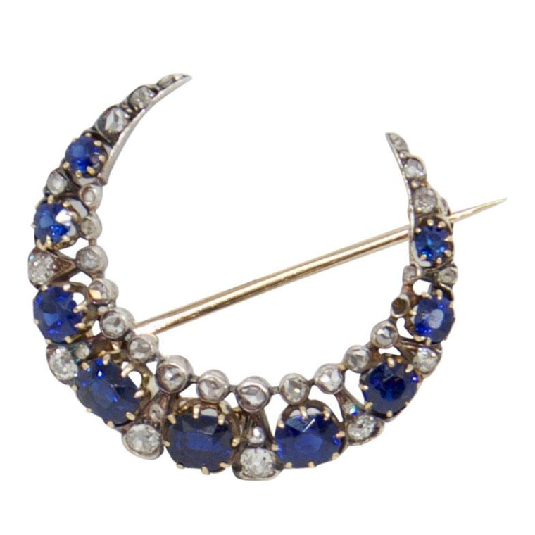 Antique Sapphire & Diamond Crescent Brooch