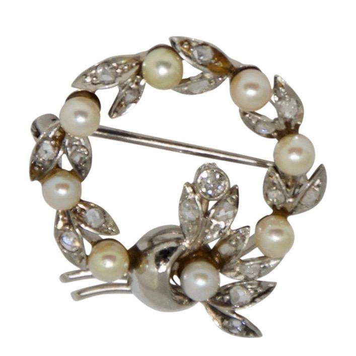 Antique Seed Pearl & Diamond Circle Brooch