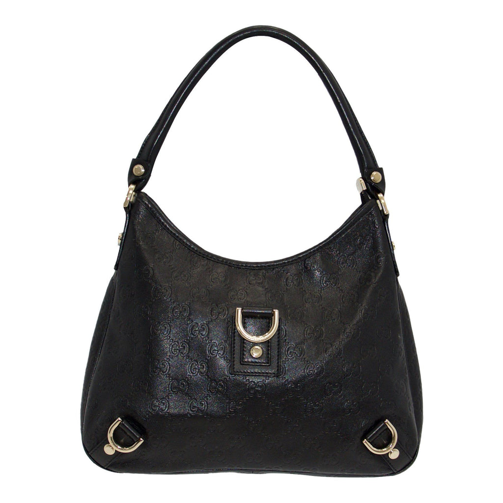 Gucci Black Guccissima D-Ring Abbey Hobo - Bags