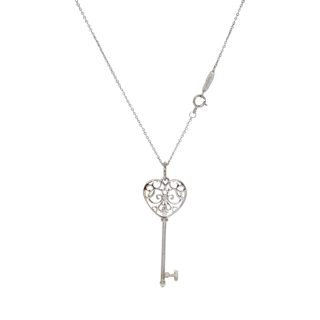 Tiffany & Co. White Gold Enchant Heart Key Pendant Necklace with Diamond