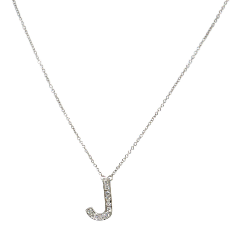 Tiffany & Co. Diamond Letter 'J' Pendant Necklace
