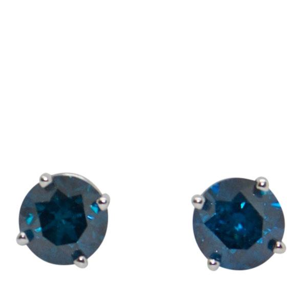 Blue Diamond Stud Earrings Earrings Miscellaneous