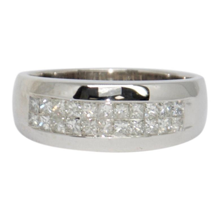 Two-Row Invisible-Set Diamond Band Ring
