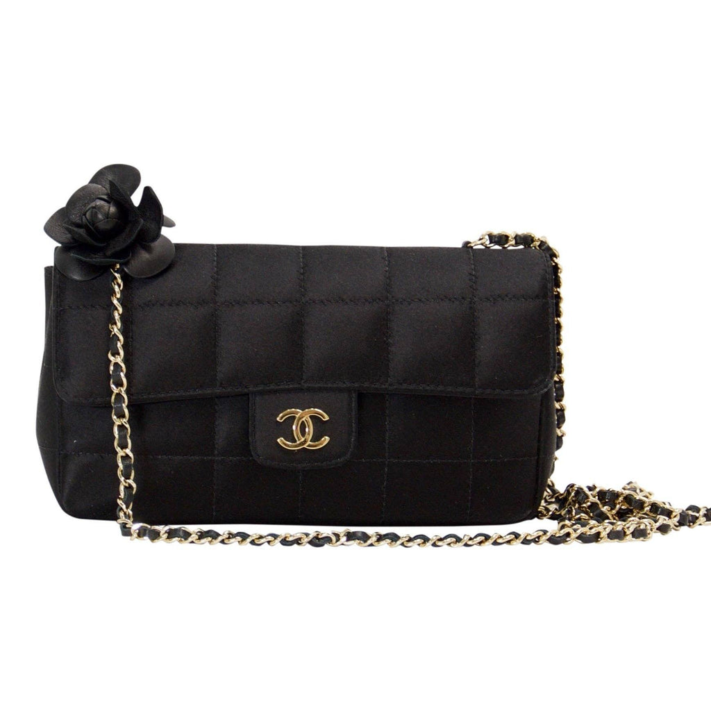 Chanel Black Satin Mini Camelia Flap Shoulder Bag Bags Chanel