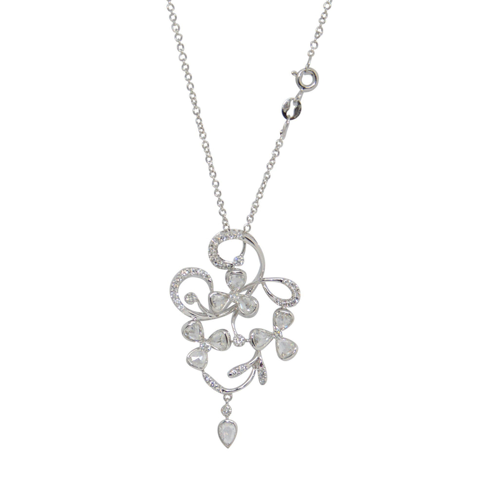 Antique Diamond Drop Pendant Necklace