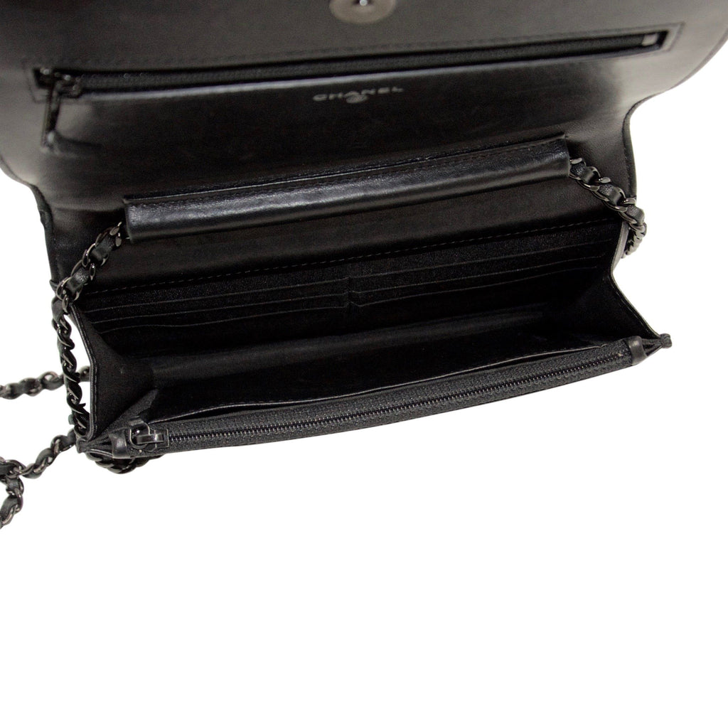 Chanel Black Quilted Boy Wallet On Chain - Bags