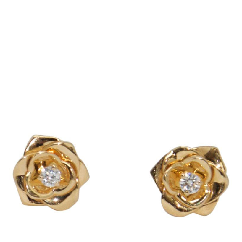 Piaget 18k Diamond Rose Earrings Earrings Piaget