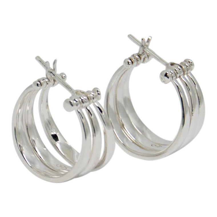 Links of London 3-Row Hinged Hoop Earrings