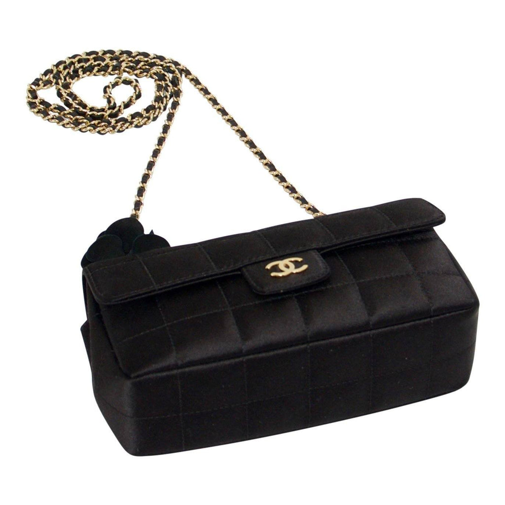 Chanel Black Satin Mini Camelia Flap Shoulder Bag - Bags
