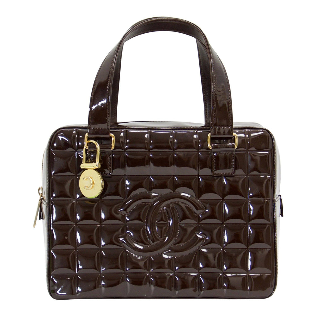 Chanel Vintage Chocolate Patent Leather Camera Bag - Bags