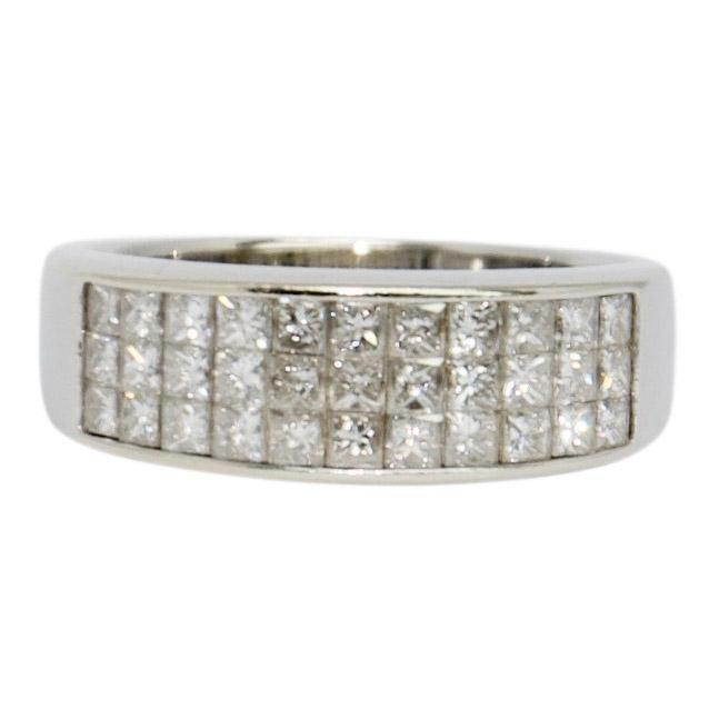 Three Row Invisible-Set Diamond Band Ring