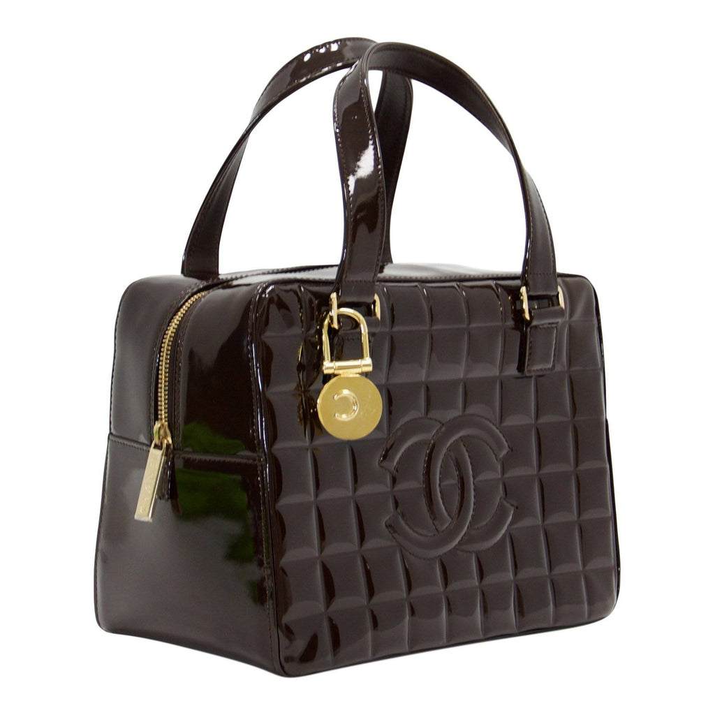 Chanel Vintage Chocolate Patent Leather Camera Bag