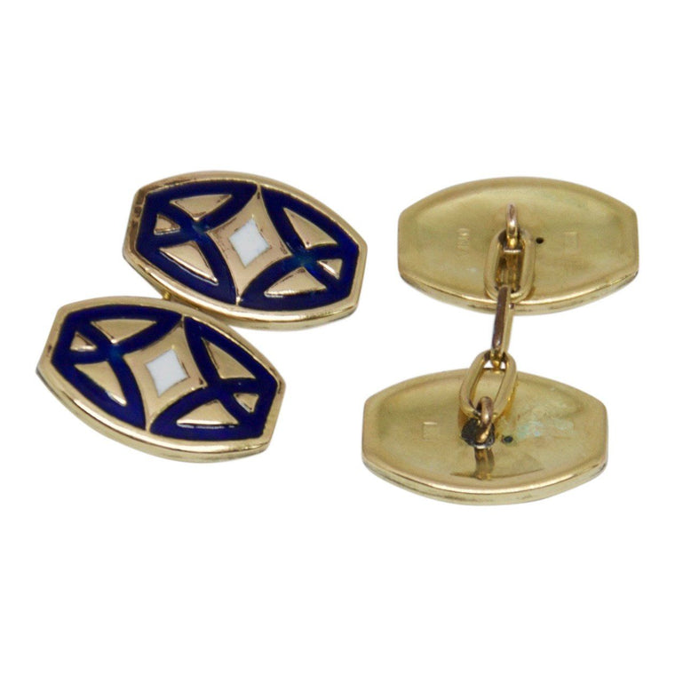 Antique Enamel Cufflinks - Mens Jewellery