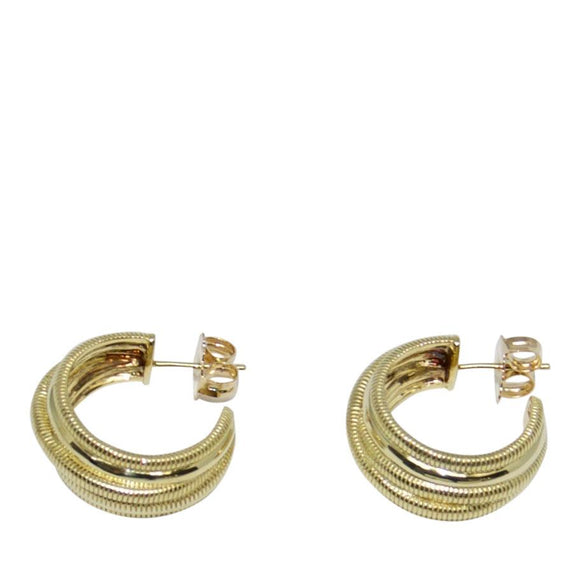 Judith Ripka 18k Gold Mercer Crossover Hoop Earrings