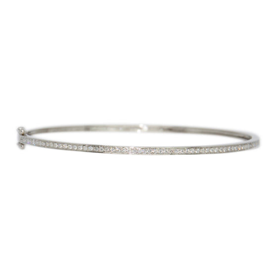Single Row Channel-Set Diamond Bangle Bracelet