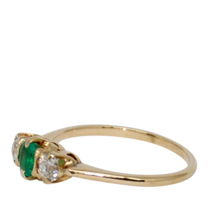 Antique Art Deco Emerald and Diamond Three Stone Ring