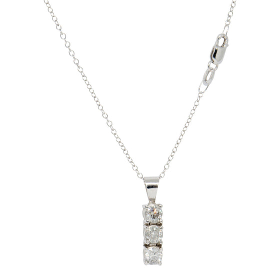 Three Stone Diamond Drop Pendant Necklace