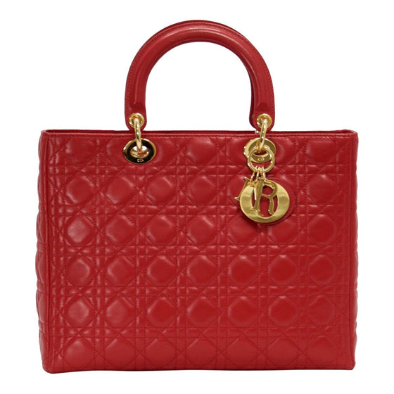 Christian Dior Large Red Leather Lady Dior Bag - Bags 2a8a235090683