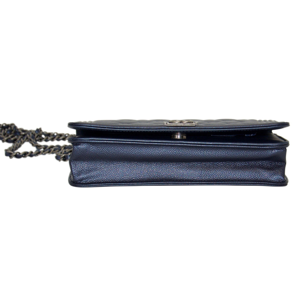 Chanel Metallic Blue Quilted Boy Wallet on Chain