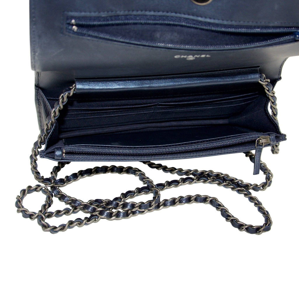 Chanel Metallic Blue Quilted Boy Wallet on Chain Bags Chanel