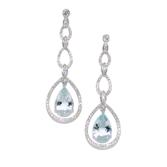 Aquamarine & Diamond Drop Earrings Earrings Miscellaneous